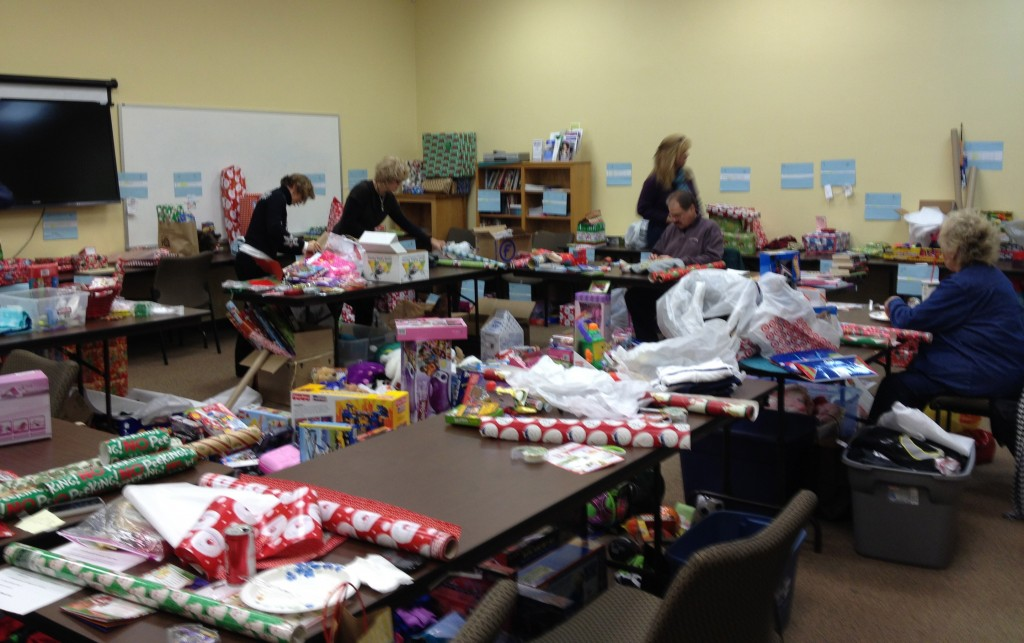 Wrapping takes over the training room.